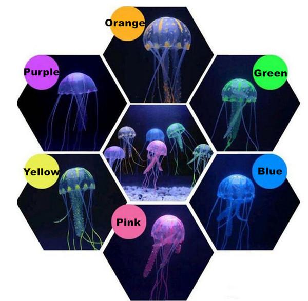6 couleurs artificielle rougeoyante ornement de méduse pour l'eau de sel fraîche décorations de méduses flottantes pour poissons d'aquarium réservoir de crevettes