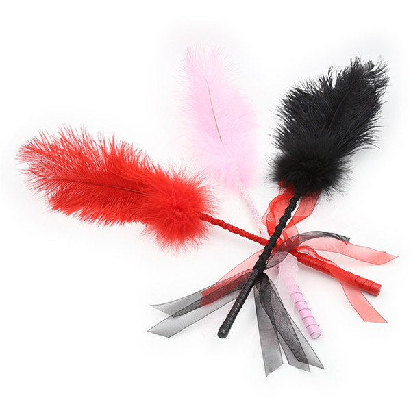 best selling New ostrich feather Clit tickler Spanking Sex Toy Tickler Sex Whip Flirt Soft Ticklers Slave Flogger