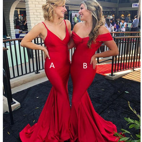 Elegante, largo y rojo, sirena, vestidos de baile 2019 Profundo cuello en V Vestido de satén de lujo Vestido de noche Mujeres Ocasión especial Vestidos de fiesta Por encargo