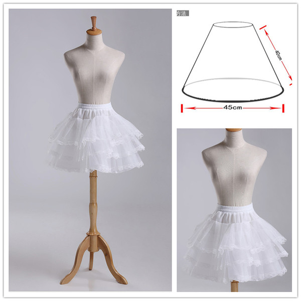 Elegant 3 Layer Lolita Flower Girl Dress Petticoat Tutu Skirt Slips Pettiskirt with Lace Edge For Wedding Adjustable For Girl