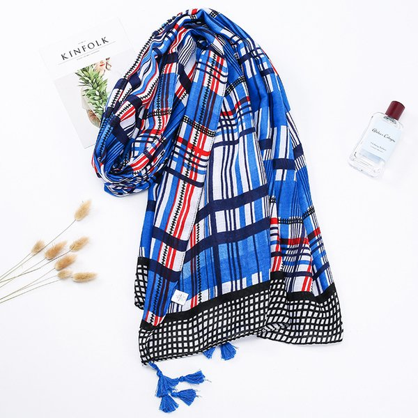 2018 new scarf plaid printed cotton and linen scarf large sunscreen gauze scarf beach resort towel thin