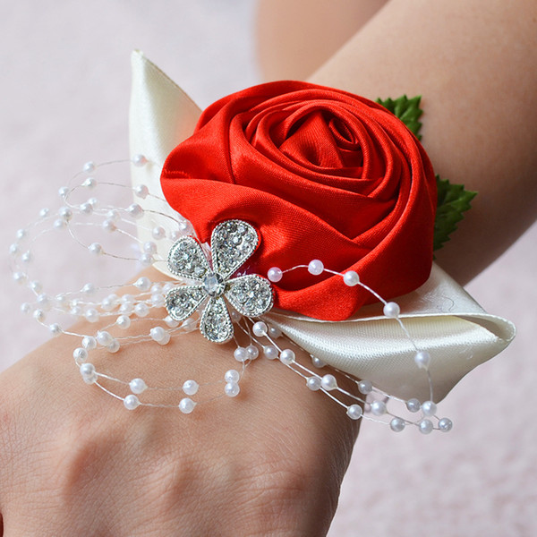 New 10 color Bridesmaid Wrist corsage wedding flowers for bride bridesmaid high quality satin Wedding Flowers for outdoor style