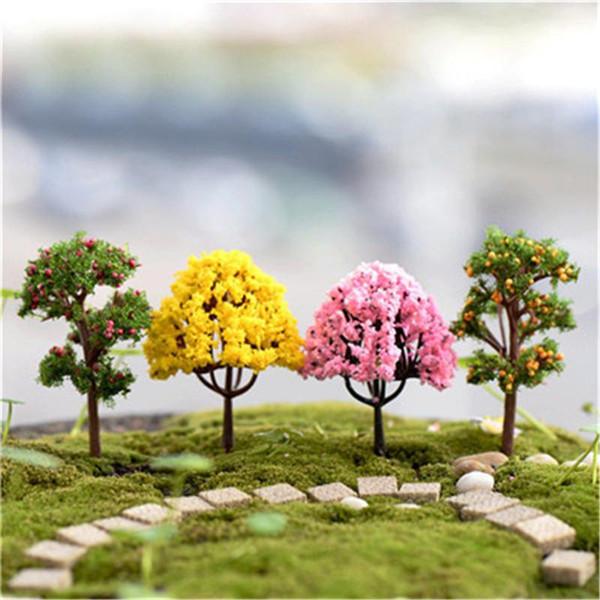 XBJ021 yosun mikro manzara süsler 1pcs dekore ağaç süsleri yaratıcı peyzaj kiraz ağacı elma ağacı