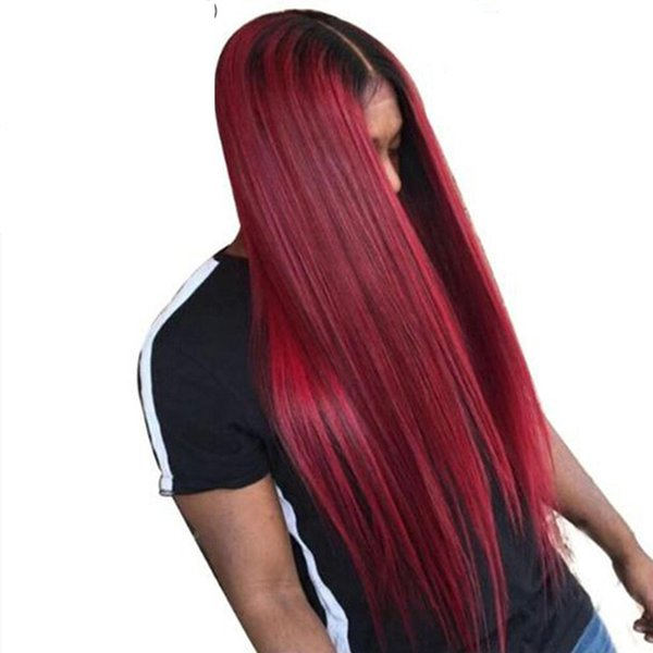 Brasilianische Ombre Lace Front Perücken Für Weiße Frauen Weinrot Glueless Gerade Reines Haar Two Tone 1B 99j Volle Spitze Echthaar Perücke