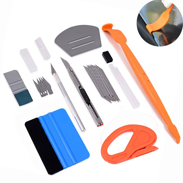EHDIS Pegatinas y calcomanías para automóviles Película Squeegee Scraper Herramientas de envoltura Set Vinyl Car Wrap Sticker Cutter Cuchillo Herramienta de peinado