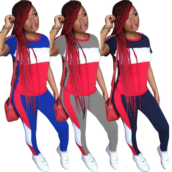 Spring Summer Women Tracksuit Striped Patchwork T Shirt Tops + Pants Leggings 2 Piece Set Short Sleeve T-shirt Outfit Casual Sportswear Suit