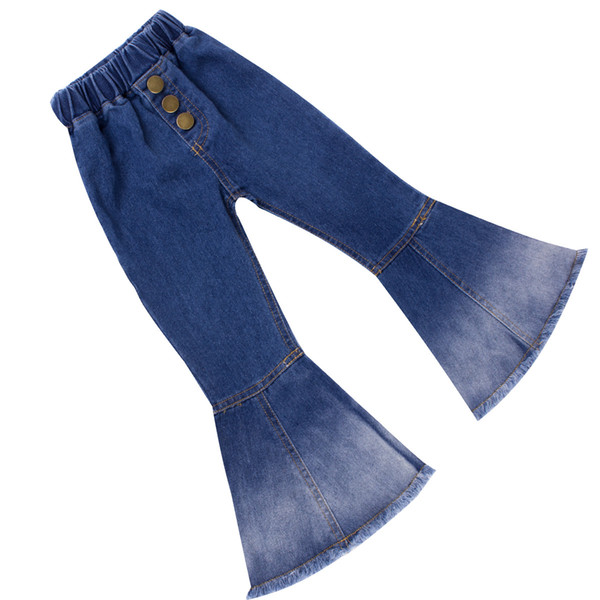 Retail Baby Girls Gradation flare trousers Denim tassels Jeans Leggings Tights Kids Designer Clothes Pant Fashion boutique Children Clothes