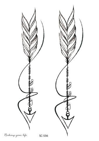 Rocooart Sc556 Negro Blanco Flechas Tatuagem Mujeres Etiqueta
