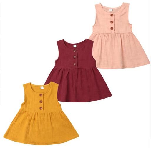 Vintage Ruffle Dress Pure Color Baby Girl Princess Cute Sundress Sleeveless Soft Cotton Toddler Dress Casual Kid Summer Clothing