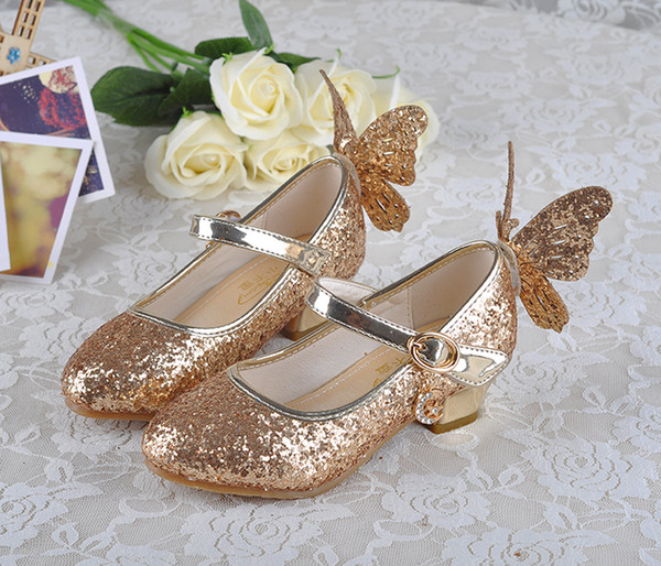Lovely Pink Blue Gold Silver Flower Girls' Shoes Kids' Shoes Girl's Wedding Shoes Kids' Accessories SIZE 26-37 S321007