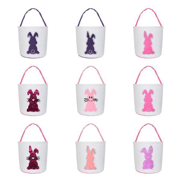Paniers de Pâques Lapin Paillettes Seaux Monogrammable Easter Egg Seaux Totes Hunting Egg Bag Enfants cadeau Organisateurs 12 couleurs MMA2935
