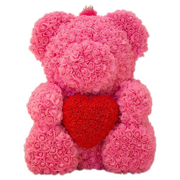 25см Мишка с короной в подарочной коробке Медведь из роз Искусственных цветов новогодних подарков для женщин Валентин подарок розовых