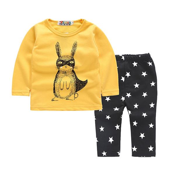 good quality Baby Girls Boys Clothes Set 2PCs Cartoon Rabbits T-shirt Tops Star Pants Outfits Set vetement enfant fille ropa recien