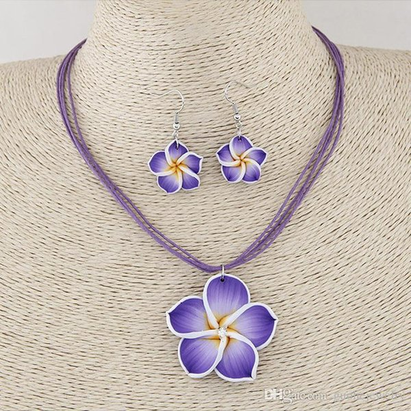 Hot design jewelry sets Soft clay flowers diamond jewelry sets temperament necklace earrings set free shipping