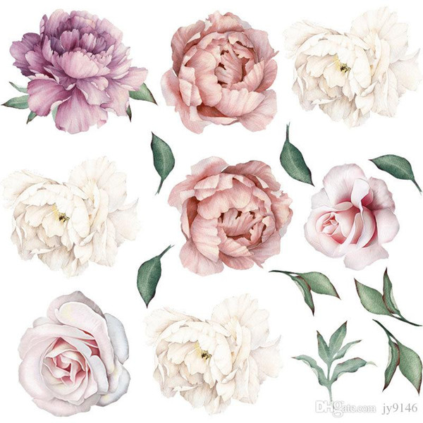 Peony Flower Mural Wallpaper Pink Flora Wall Sticker For Living Room  Bedroom Decor Watercolor Peonies Peel And Stick Wall Poster The Wall  Sticker The ...