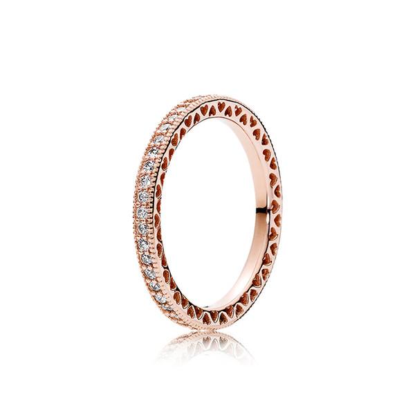 Rose plaqué or CZ diamant femmes mariage bague pour Pandora 925 bagues en argent sterling sertie de boîte cadeau originale