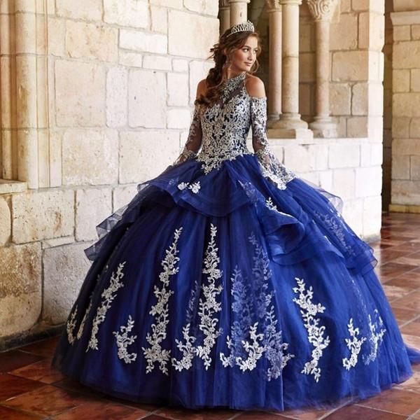 Mode Spitze Ballkleid Quinceanera Kleider Neckholder Perlen Abendkleider Tüll Tiered Long Sleeves Sweet Pageant Dress