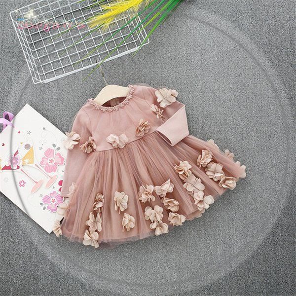 Spring Long Sleeve Mesh Patchwork Flowers Baby Wedding Party Girls Kids Princess Fairy Infants Ball Gown Dress Vestidos S6350 Q190518