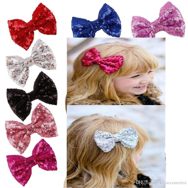 2018 11colors Baby barrettes clips new Europe and cute girls children sequins hairpin bow hair jewelry