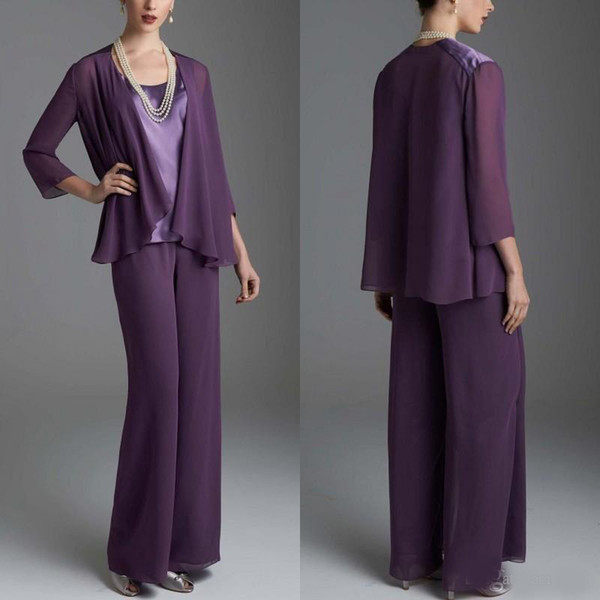 Grape Mother of the Bride Dresses Pants Suits Wedding Guest Dress Silk Chiffon Long Sleeve Mother of Bride Pant Suits Custom Made