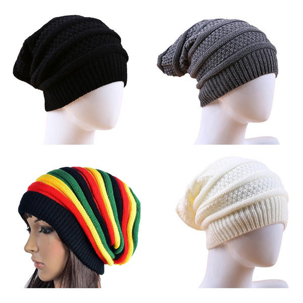 2019 Fashion Winter Striped Men Women Jamaica Rasta Reggae Rainbow Wool Knitted Beanie Hats Casual Cheap Caps Bonnet Girl Boy