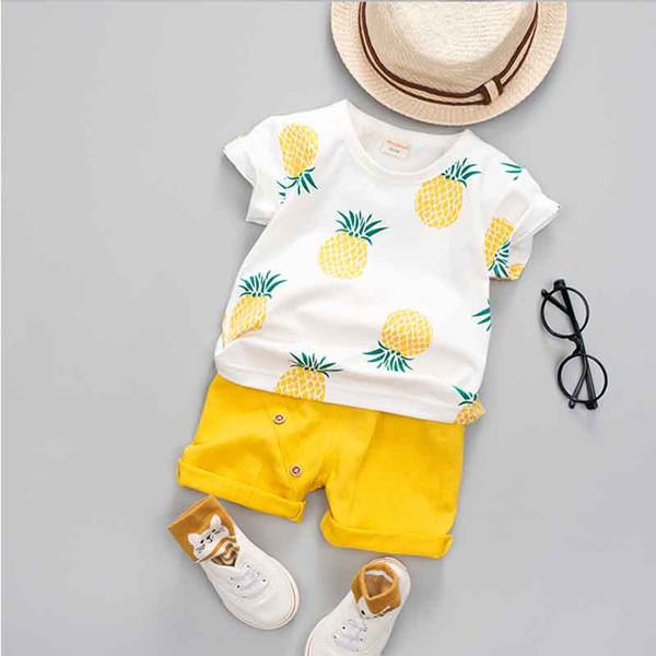 2019 Bebê Meninos Meninas Roupas de Verão Moda Cotton Set Impresso Fruto Esportes Terno Para Um Menino T-Shirt + Shorts Roupas Para Crianças C23