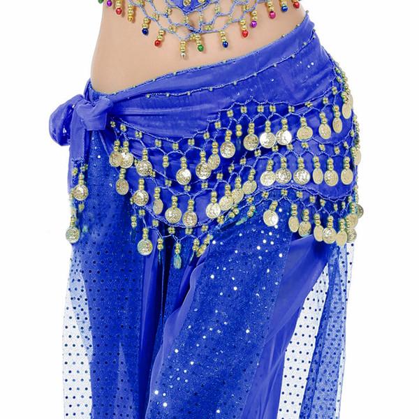 Sciarpa a forma di cintura da danza del ventre da donna con monete d/'oro