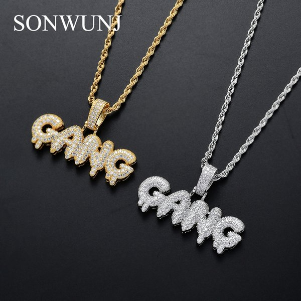Men CZ GANG Pendant Iced Out Cubic Zircon Necklace Hip Hop gift Jewelry bling bling CN072