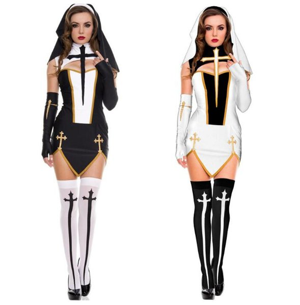 New Sexy Nun Costume Adult Women Cosplay With Stockings Black Hoodie For Halloween Sister Cosplay Party Costume
