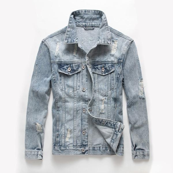 Açık Mavi Renk Yıpranmış Delik Moda erkek Ceketler Slim Fit Vintage Denim Ceketler Erkekler Ceket Marka Tasarımcısı Ripped Biker Ceket
