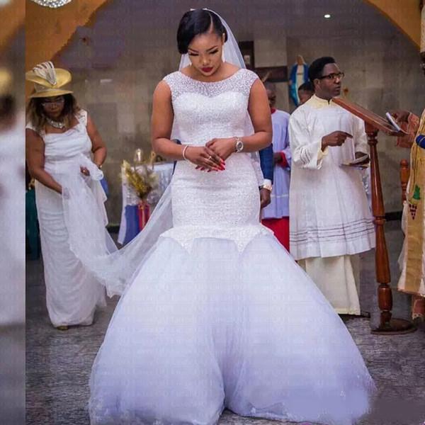 2019 Beads Crystal Bodycon Mermaid Wedding Dresses Jewel Neck Cap Sleeve South Africa Style Custom made Wedding Dress