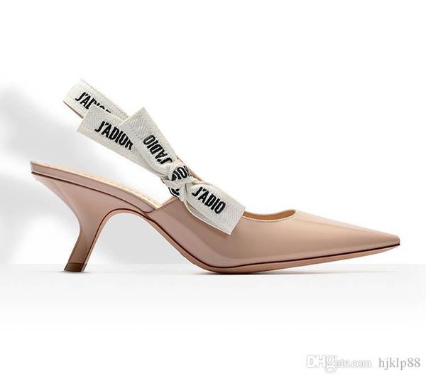 Hot Plus Size 34-40 Sandalias de mujer de moda Punta puntiaguda Tacones altos de cuero genuino Bombas de mujer Zapatos de boda Mujer Banda elástica Bowtie