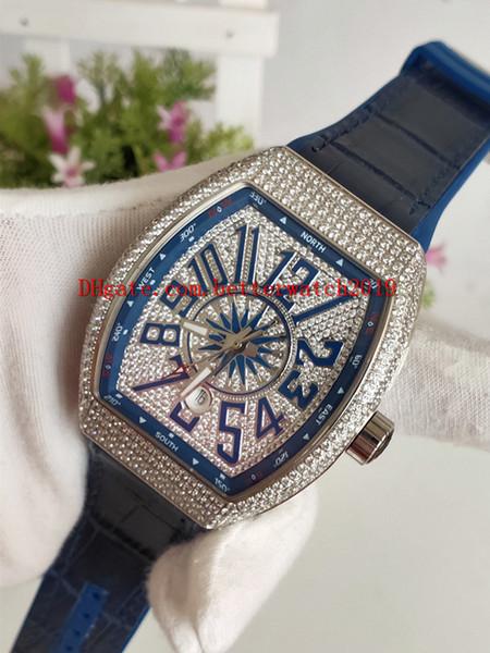Top qualidade de Borracha de luxo homens mecânicos Relógios Desportivos COLEÇÃO V 45 SC DT YACHTING Caso de Prata Diamante Azul Dial Mens Automático