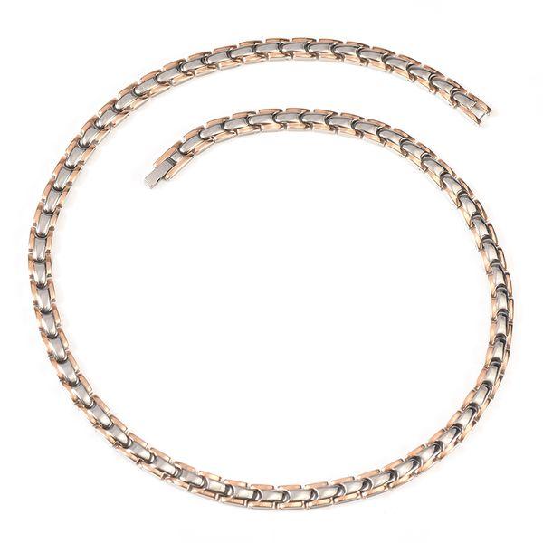 Collier magnétique en titane avec 62 aimants + 2 hommes unisexes en cuivre (53cm / 6.5mm)
