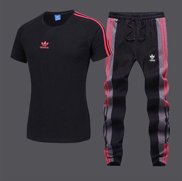 Survêtements pour hommes mode active rayé broderie respirant col rond pull t-shirts pantalon long en coton mélangé taille S-2XL