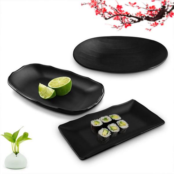 Assiette givrée noire Assiette sushi à la mélamine Assiettes à dîner Plateau à collations à dessert