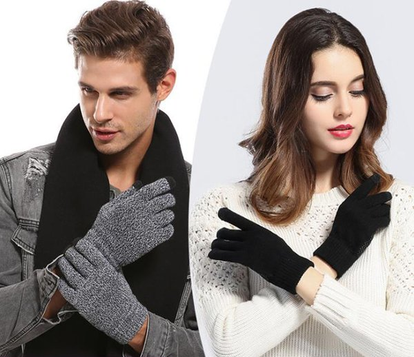 2019 winter Europe and the United States men and women touch screen gloves slip plus velvet thick warm knitted gloves