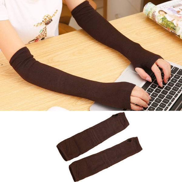 MeiHuiDa 2019 New Style Fashion Solid Women Cute Protection Cotton Long Warmer Long Fingerless Stretchy Gloves