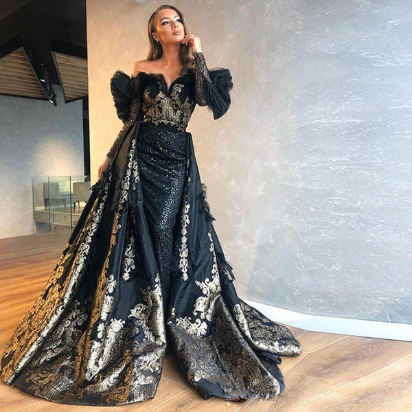 Hot Sale Black Evening Dresses With Detachable Train Off Shoulder Sheer Long Sleeve Sheath Celebrity Evening Gowns Evening Dresses South Africa Formal