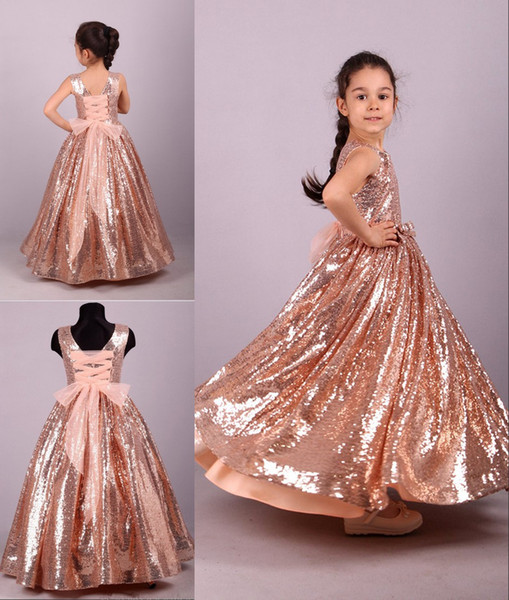 2020 Sparkly Rose Gold Sequin Flower Girls Dresses For Wedding Lace up Aline Bows Princess For Kids Little Girl First Communion Dress