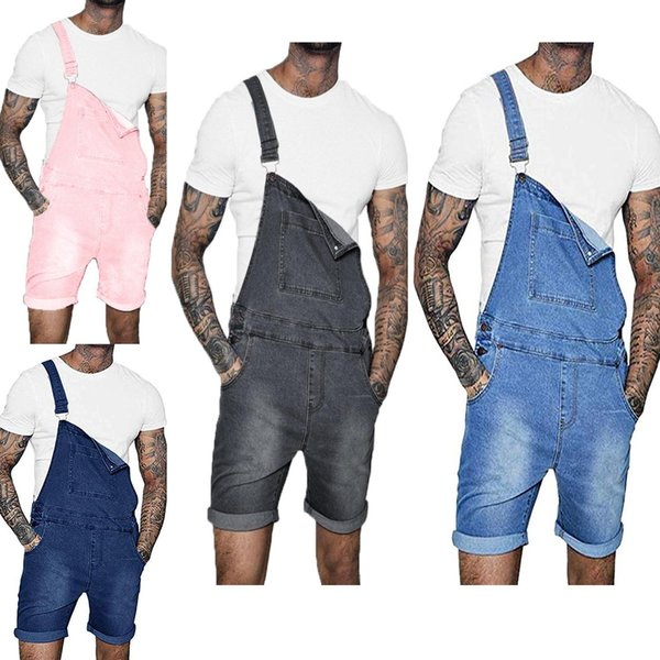 Men Jeans Overalls Male Knee Length Jeans Jumpsuit Summer Denim Bib Overalls Fashion Jeans Suspender Short Pants