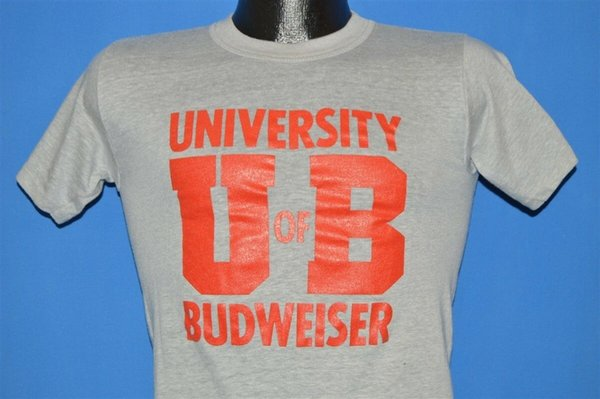 7b80cb52 vtg 80s UNIVERSITY OF BUDWEISER BEER GRAY HEATHERED BUD t-shirt EXTRA SMALL  XS Funny