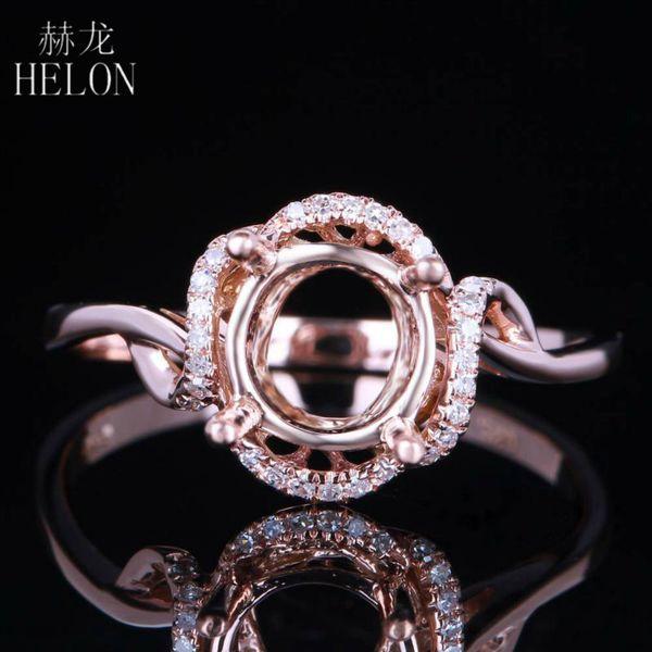 Helon Sólido 14 k Halo de Oro Rosa Redondo 6.5mm Ajuste de Montaje Semi 0.1ct Diamantes Anillo de Bodas de Compromiso Anillo de Joyería de Moda Fina Y19052301