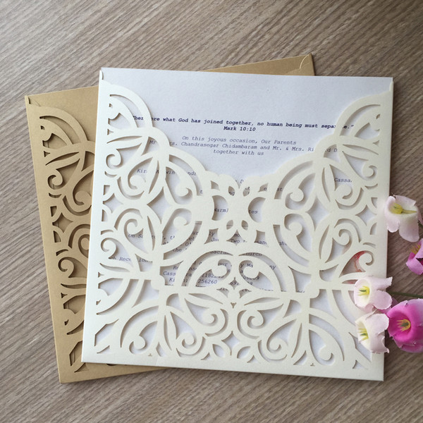 15PCS/LOT Wedding Invitation Card With Pearl Paper Hollow Laser Cut Lace Cut Marriage Ceremony Supplies