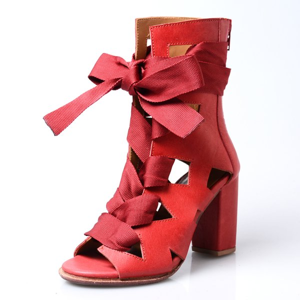 sexy peep toe chunky heel bandage hollow out gladiator sandals women summer boots cross tied high heels shoes red genuine leather
