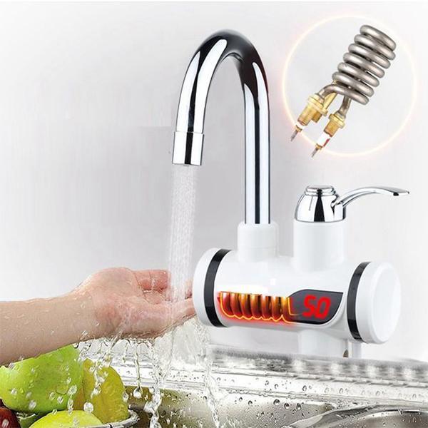 Chauffe-eau électriques en acier inoxydable Instantanée 3 secondes Chauffage Chaud Froid Robinet de température à affichage numérique à double usage