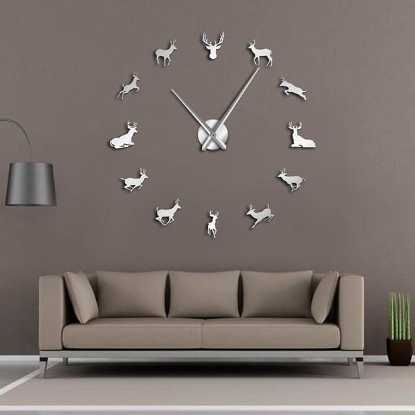 Tête de Cerf DIY Géant Horloge Murale Woodland Cerf Chasseur Moderne Cerf Antler Horloge Murale Acrylique Effet Miroir Animaux Décorations pour La Maison