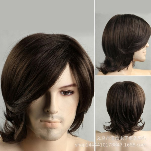 2018 speed sell ebay Amazon hot sale men's short hair oblique bangs Europe and the United States high-end foreign trade fashion wig