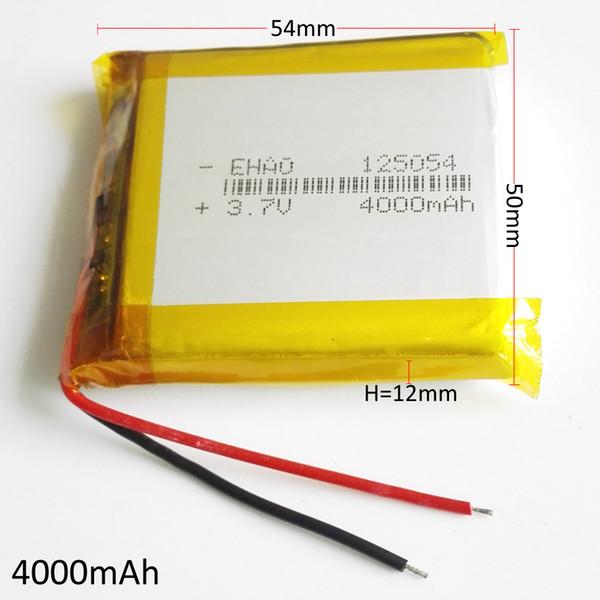 Modelo 125054 3.7 V 4000 mAh Li-Po Bateria De Polímero De Lítio Recarregável Para DVD PAD telefone Móvel banco Do Poder Do GPS Da Câmera E-livros Caixa de TV Recodificador