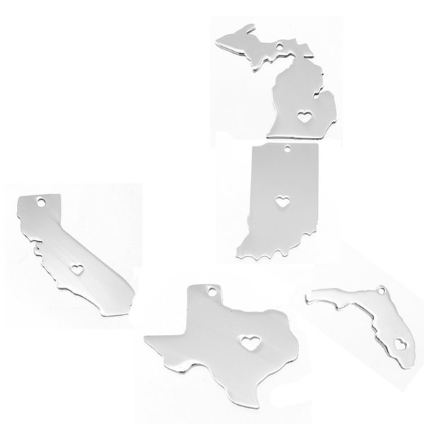 100% Stainless Steel Pendant Charms of USA States Map American Map Both Sides Mirror Polished for Necklace/Kaychain 100pcs/lot